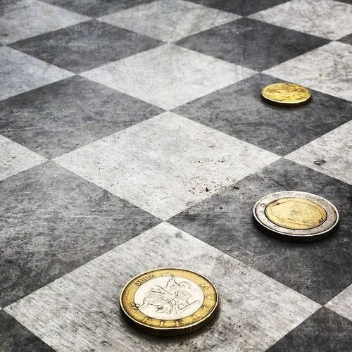 Chess Chessboard Checkmate Money Coins Euros Art Grey Dramatic Angles