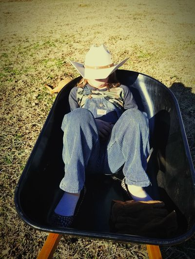 Cowboy Hat Being Silly Yard Work Country Kids In The Country Ranch Life Sugarloaf Creek Ranch