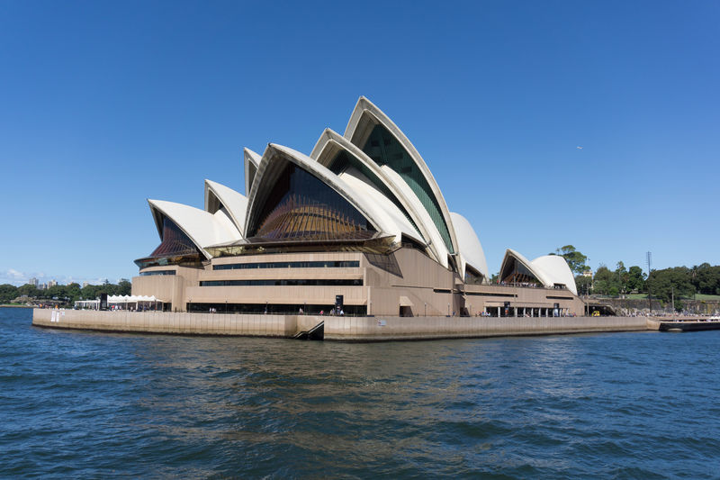 Architecture Blue Building Exterior Built Structure Clear Sky Day Ferry No People Outdoors Sky Sydney Sydney Harbour  Sydney Opera House Travel Destinations Water Waterfront