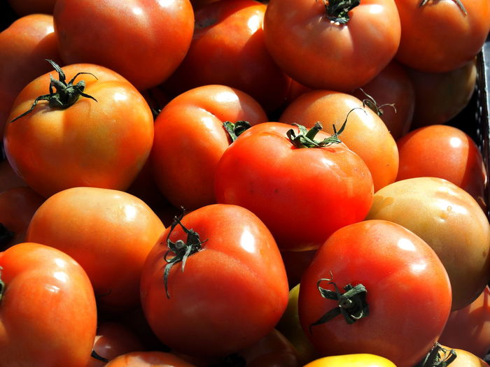 High angle view of tomatoes in market