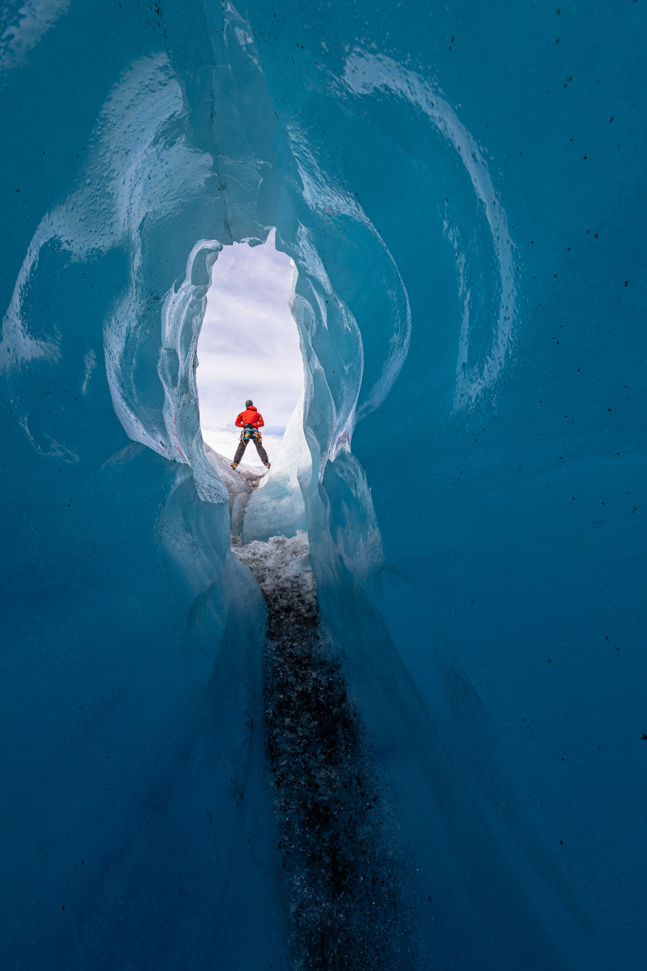 Man standing on glacier
