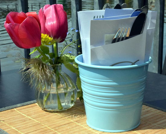 Tulips Beauty In Nature Close-up Container Day Decoration Dining Table Flower Flower Head Flower Pot Flowering Plant Flowers On Table Fragility Glass Indoors  Inflorescence Nature No People Plant Still Life Table Table Decoration Vase Vulnerability