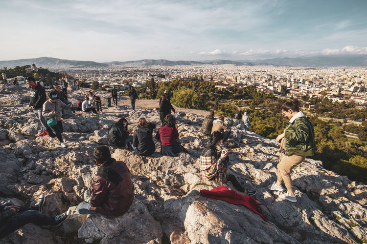 Athens Athens Greece Athens, Greece Acropolis Group Of People Crowd Sky Real People Nature Large Group Of People Day Women Men Leisure Activity Adult Cloud - Sky Rock Lifestyles Architecture Rock - Object Environment Outdoors Building Exterior Cityscape