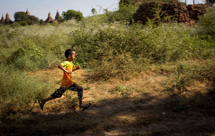 """Let us make our future now, and let us make our dreams tomorrow's reality."" Malala Yousafzai ASIA Ananda Ancient Children City Nature Run Running Bagan Burma Canon Game Landscape People And Places Play Temple"