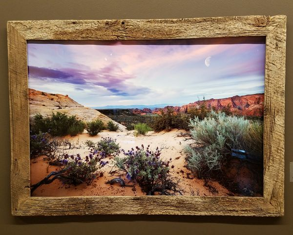 A photo of my photo Art Gallery Frame Window Nature Photograph Sunrise ArtWork Artwork Of Nature Sunset Sky Looking Through Window Framed Photograph Framed Framed Art Framed Vision Barnwood Landcape
