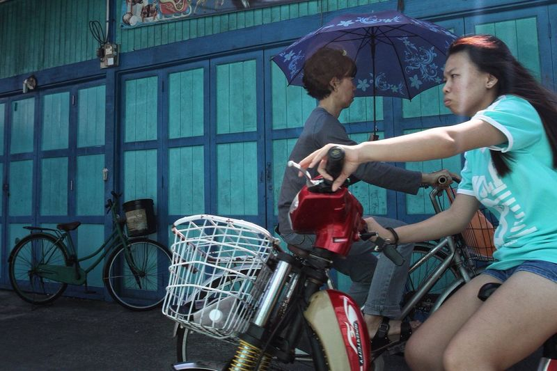 My Commute Transportation Transport Bicycle Journey Journalism Journeyphotography 3 Layer Photography Umbrella Daily Life Woman Crab Island Pulau Ketam Malaysia