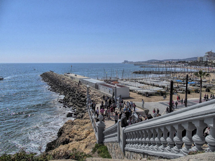 Barcelona Blue Catalunya Clear Sky Coastline Day Horizon Over Water Scenics Sea Shore Sitges Barcelona España Sky Tourism Tourist Tranquil Scene Tranquility Travel Destinations Vacations Water