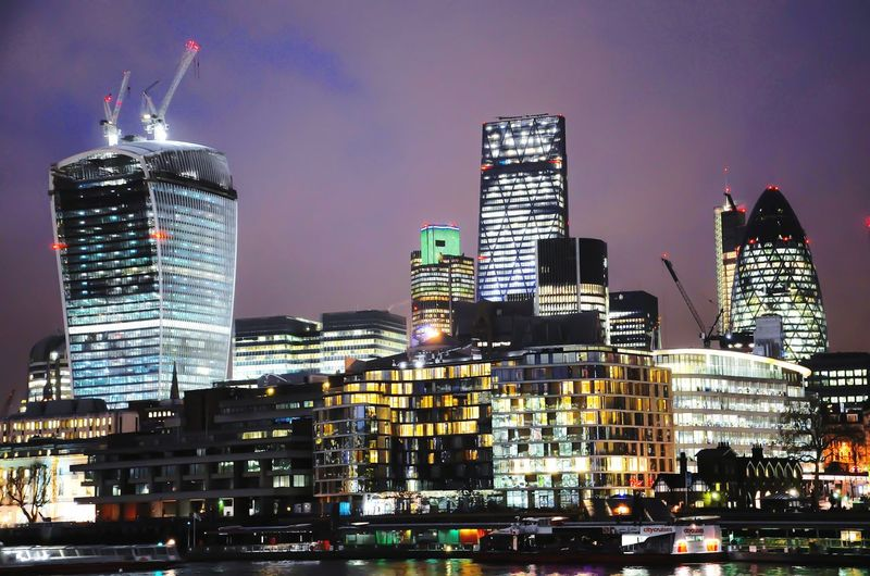 La City London London LONDON❤ Skyscraper Building Exterior Architecture Night Urban Skyline City Illuminated Modern Cityscape Downtown District City Life Travel Destinations No People
