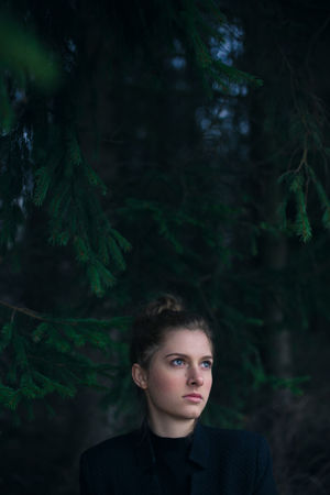 Beautiful People Beautiful Woman Beauty Contemplation Fairy Tale Fantasy Fashion Females Forest Green Color Headshot Mystery Nature One Person One Woman Only One Young Woman Only Only Women People Portrait Serene People Standing Tree Women Young Adult Young Women