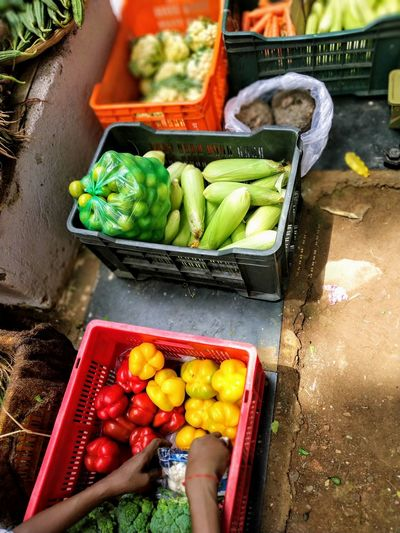 High angle view of vegetables in market stall
