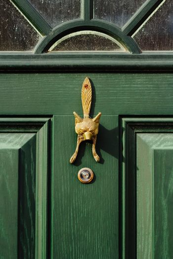 Front Door Green Color No People Close-up Outdoors Fox Door Knocker Wooden Door Home House Property England