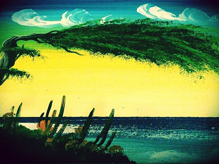 Green Aruba Caribbean Painting Hugging A Tree Nature Art Nature_collection Landscape Tropical
