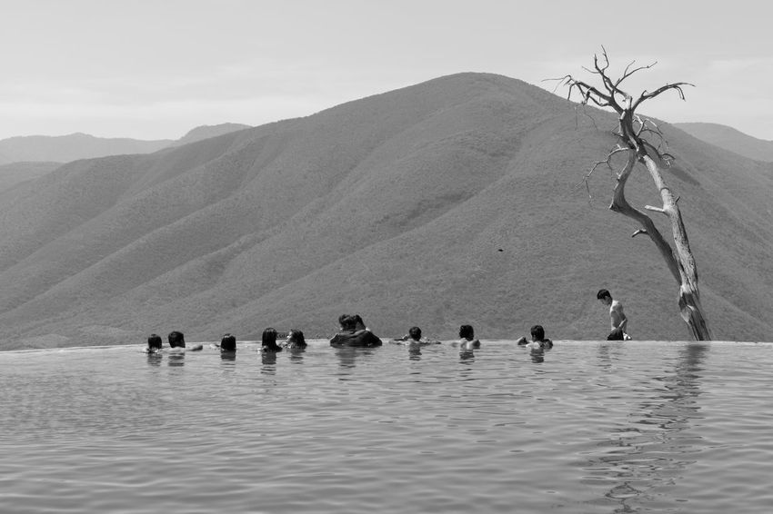 Hierve el Agua, Oaxaca Beauty In Nature Black And White Day Fine Art Photography Hill Horizon Over Land Idyllic Landscape Monochrome Mountain Mountain Range Nature Non Urban Scene On The Way Outdoors Remote Rippled Scenics Sky Tourism Tourists Tranquil Scene Tranquility Travel Destinations Water