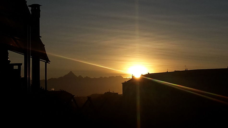 Monviso Sunset_collection Silhouette Mountain View Sunset Mountains My City Beauty In Nature Sunlight Ray Of Sun Peaceful Peace And Quiet Sunset No People Outdoors Sky Nature Day