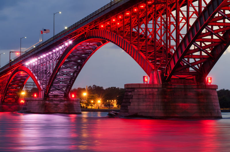 Arch Architecture Bridge Bridge - Man Made Structure Building Exterior Built Structure Capital Cities  City Connection Engineering Illuminated Night No People Outdoors Peace Bridge Red Reflection River Sky Suspension Bridge Tourism Travel Destinations