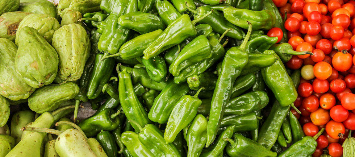 fresh vegetable in market Abundance Backgrounds Bell Pepper Chili Pepper Choice Farmer's Market Food Food And Drink Freshness Full Frame Green Color Healthy Eating Large Group Of Objects Market No People Organic Pepper Red Retail  Ripe Sale Spice Vegetable Wellbeing
