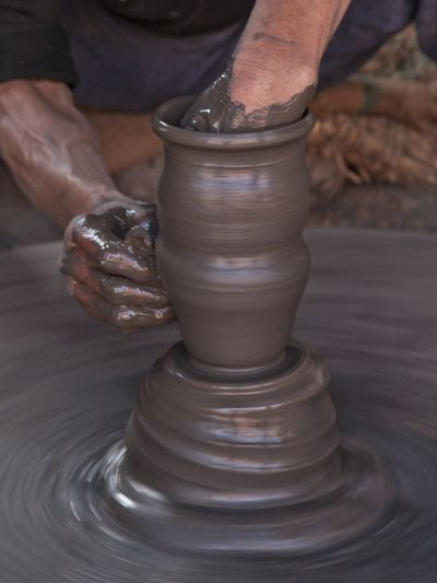 Human Hand Working Men Occupation Clay Skill  Craftsperson Making Mud Art And Craft Terracotta