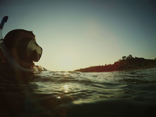 Under Water Dive In Swimming Around Getting A Tan Sunset
