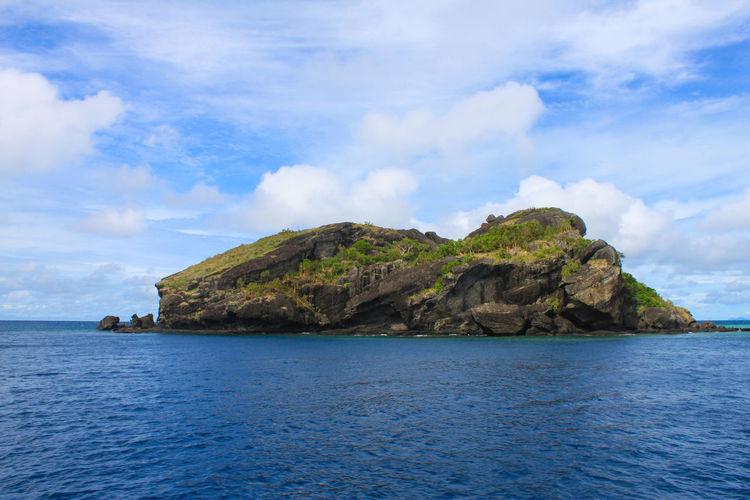 Beauty In Nature Blue Sky Cloud And Sky Cultures Day Fiji Fiji Islands Green Idyllic Island Landscape No People Ocean Outdoors Rock Rock Formation Rocky Scenics Sea Tranquil Scene