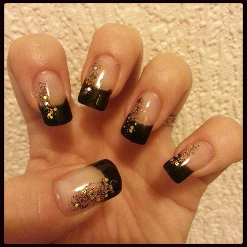Black & Gold My Nails ❤ Nails Naglar