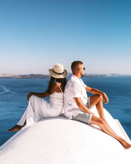 Couple on vacation at the greek islands santorini