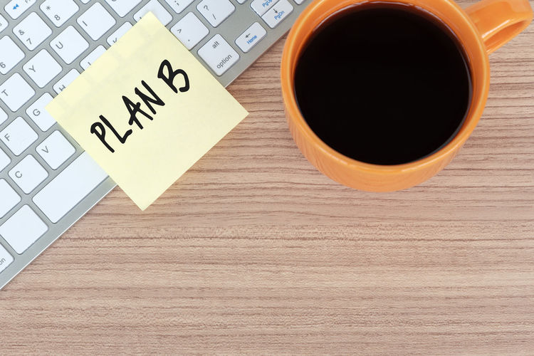 plan B on sticky note Adhesive Note Coffee - Drink Success Business Morning Plan B