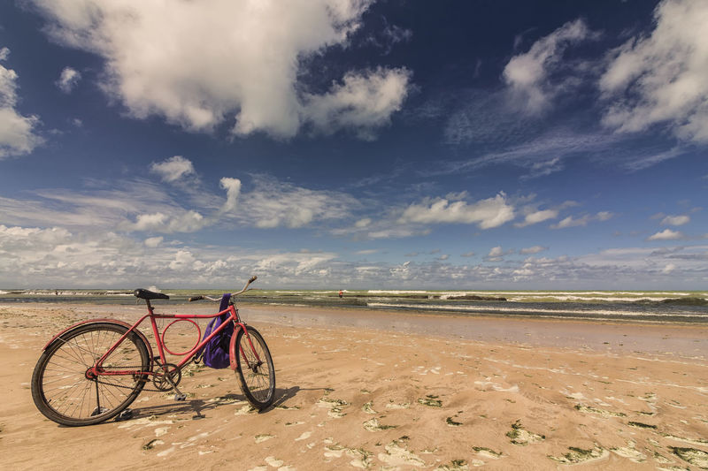 Praia de Boa Viagem Beach Beauty In Nature Bicycle Cloud - Sky Day Landscape Nature No People Outdoors Remote Sand Scenery Scenics Sea Sky Tranquil Scene Tranquility Water