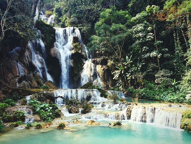 Cascadas De Khuang Si Laos Waterfall Amazing Water Beautiful Waterfall Blue Water Water Drops Water Nature