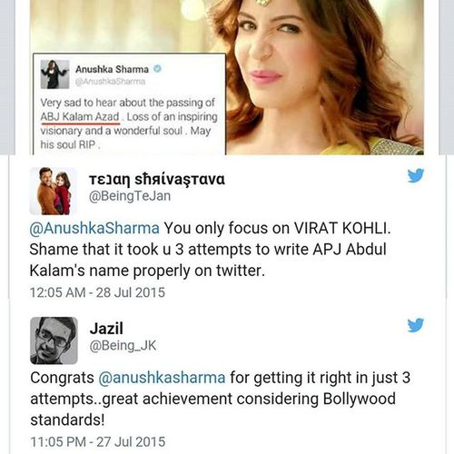 As soon as the news of Dr A.P.J Abdul Kalam's sudden demise broke on the evening of July 27th, a wave of grief gripped the whole India! Within no time everyone were posting their last respect or homage to our legendary ex President! However, Anushka Sharma who was following the foot steps of Alia Bhatt was heavily trolled for her latest post which she corrected after 3 attempts! 😂😂 Anushka Sharma Troll Twitter DrAPJAbdulKalam Bollywood Clever Girl