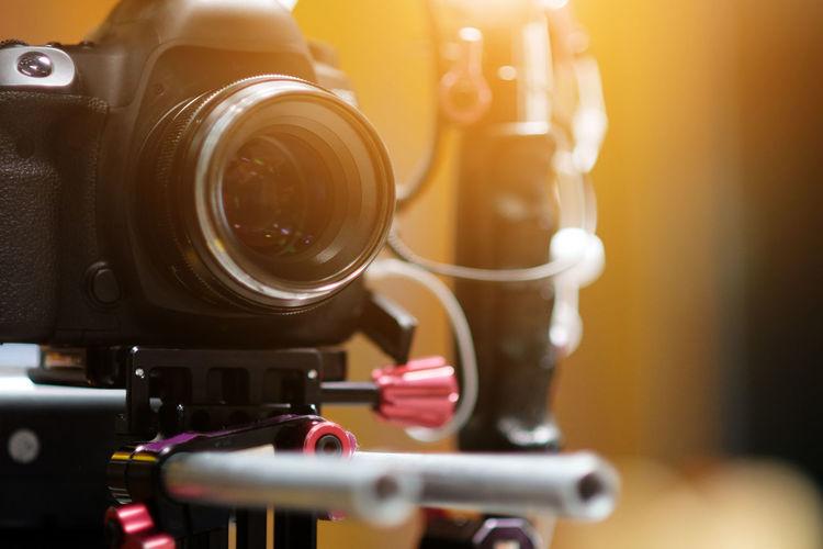 Close-up of home video camera