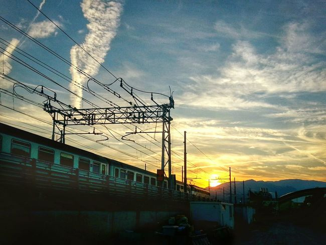 Sky Cable Cloud - Sky Electricity Pylon Connection Sunset No People Electricity  Blue Outdoors Day Golf Club Train Raylways Smartphone Photography Eyeem Edit