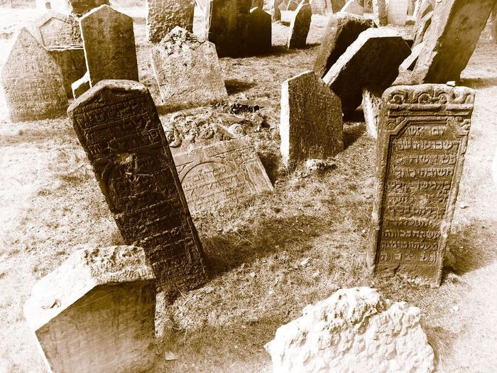 Jewish District Prague Czech Republic Architecture Built Structure Day High Angle View History Jewish Cemetery Land Nature No People Old Outdoors Solid Stone Stone Material The Past Tombstone Travel Destinations
