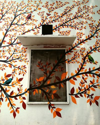 EyeEm Street Art Art Mural India Delhi Colors From My Point Of View EyeEm Best Shots DelhiGram Delhidiaries Streetphotography Lodhicolony Streets Of Delhi Wall Murals Folk Art  Details Colorful Mural Art Gond Art Window Wall Leaves Branches