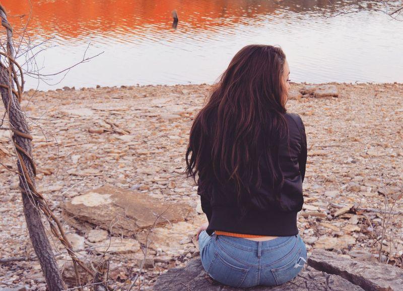 Women Outdoors Nature Day Lakeside Lake View Lake Orange Long Hair