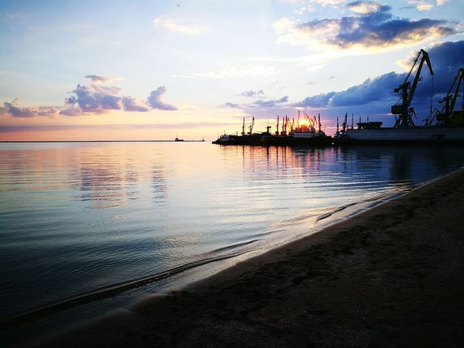 Water Azov Sea Ukraine Berdyans' K Sunset