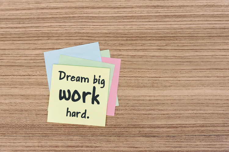 dream big work hard inspiration quotes Quotes Inspirational Motivation Aspirations Success Adhesive Note Stick Positive Emotion Attitude Note - Message Wooden