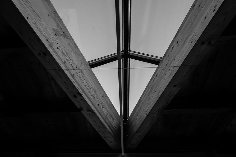 Architecture No People Built Structure Indoors  Low Angle View Bridge Connection Day Bridge - Man Made Structure Nature Sky Pattern Glass - Material Window Transparent Metal Close-up Ceiling Geometric Shape Directly Below Girder