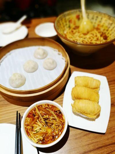 Dinner at Paradise Dynasty Indoors  Food No People Freshness Asian Food Lamien Noodles Radishpastry Hotnsourlamien Dumplings Siuloongpau