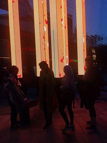 Sillouette Lights Streetphotography Street Lights Instalation People Girls
