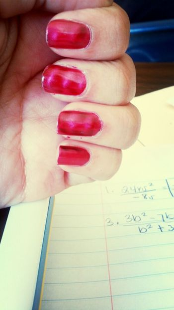 Just cause Kim did my nails during 3rd period (: