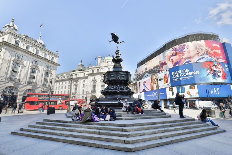 LONDON, ENGLAND - MAY 2:View of Piccadilly Circus, One of the famose squae with Eros Statue in London on May 2, 2017 Piccadilly Circus Eros GB London Travel United Kingdom England Staue  Uk