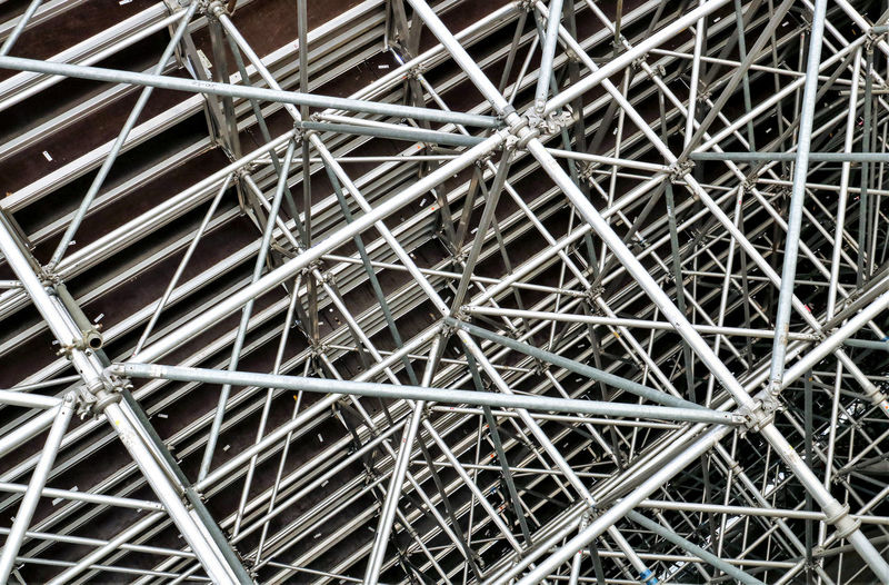 Scaffolding Abundance Backgrounds Bracing Close-up Complexity Connection Directly Above Formwork Full Frame High Angle View Large Group Of Objects Metal No People Outdoors Pattern Repetition Silver Colored Tangled Textured  Geometric Shape