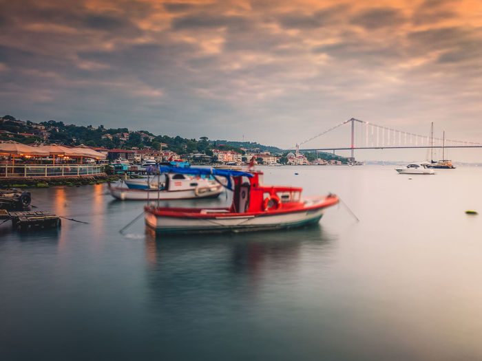 view of the bosporus. Photo taken with an iPhone7plus and the slow shutter app. EyeEmNewHere Istanbul Turkey Boat Bosporus Bridge Cloud - Sky IPhoneography Long Exposure Nautical Vessel No People Sea Sky Travel Water