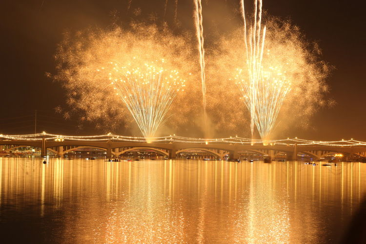 Fireworks Bridge Lake Tempe Town Lake Tempe Arizona Canon Long Exposure