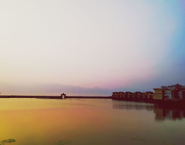 The venues and the gate Water Sunset Cityscape Reflection City Sky Architecture Building Exterior Built Structure Horizon Over Water Stilt House Romantic Sky