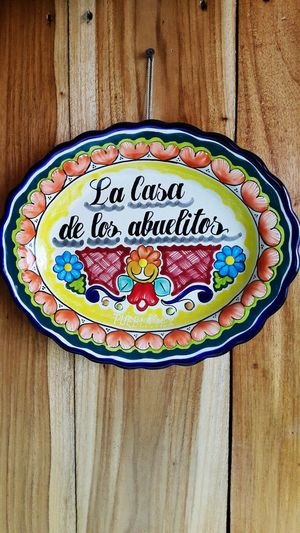 Wood - Material Text Western Script No People Table Indoors  Plate Food Still Life Communication Close-up Food And Drink Freshness High Angle View Ready-to-eat Sweet Dessert Cake Sweet Food Pattern Abuelos Handcraft
