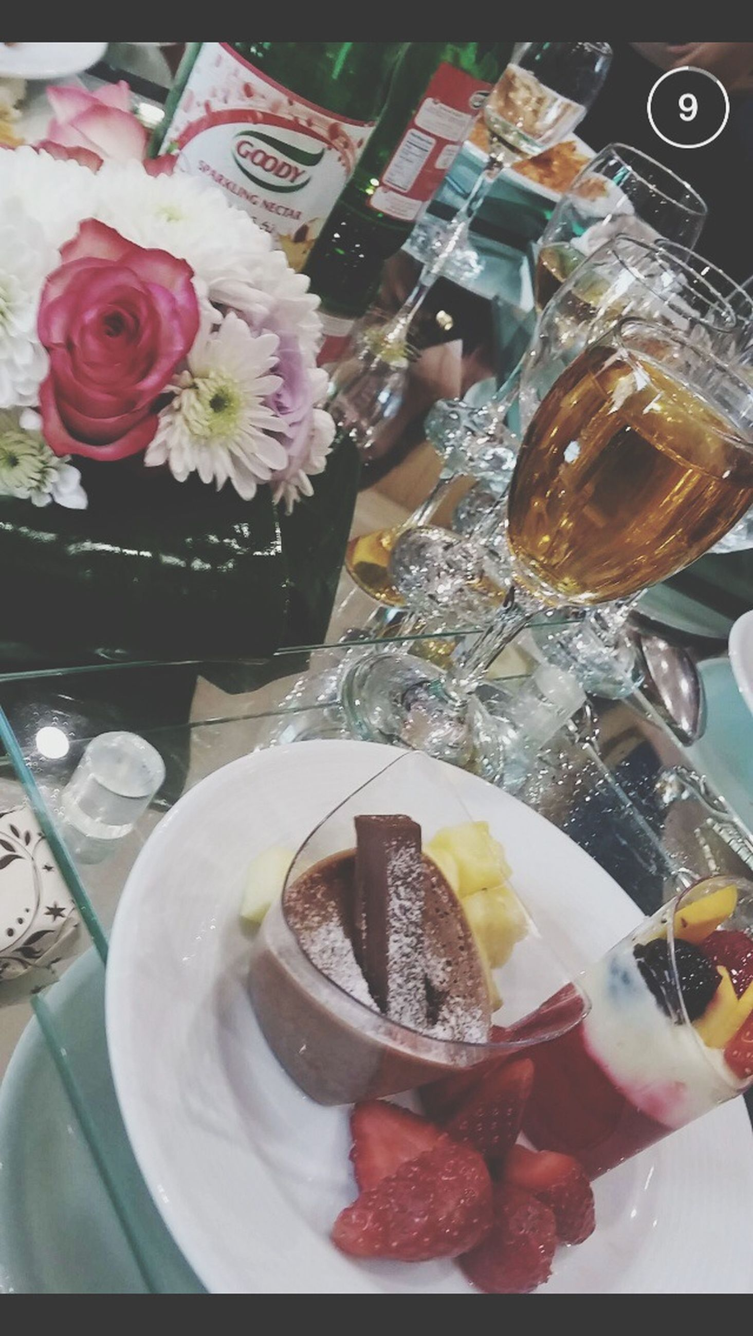 food and drink, freshness, food, indoors, sweet food, ready-to-eat, dessert, indulgence, plate, unhealthy eating, cake, temptation, table, still life, serving size, high angle view, chocolate, ice cream, close-up, strawberry