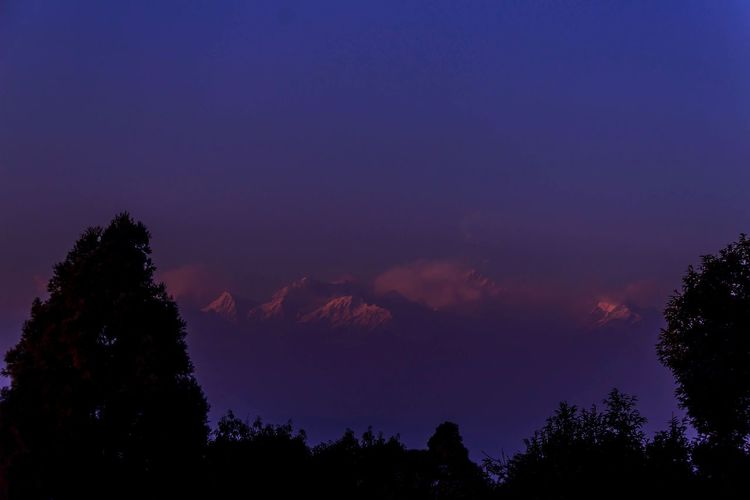 Kanchenjunga Winter_collection Clouds And Sky Silhouette_collection Early Sunset EyeEm Best Shots EyeEm Nature Lover EyeEm Gallery Silouette & Sky Night Tree Silhouette Astronomy Beauty In Nature Scenics Sky Tranquility Blue Nature No People Outdoors Illuminated