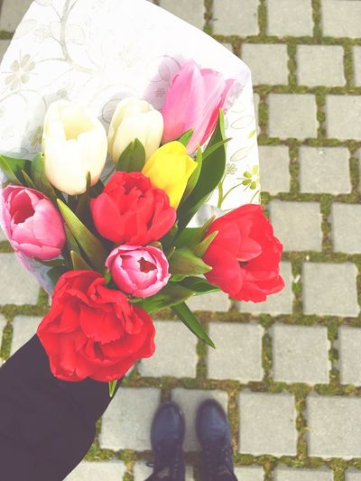 Flowers are girl's best friend 🌷 Flowers Flowerstagram Boquet Colorful Happiness Happy Girls Happy Girls Are The Prettiest  Tulips Pink Flower Red Flower White Flower Yellow Flower First Eyeem Photo