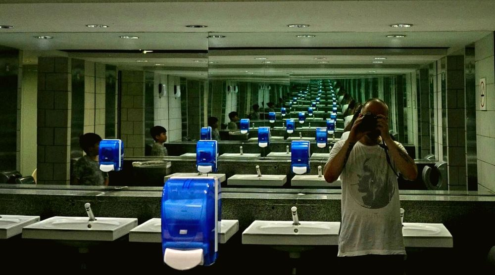 Mirrorselfie Reflection Infinity Portrait Photography Indoors  Sinks Blue